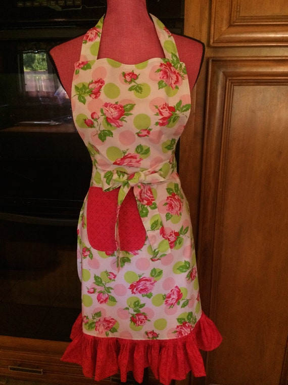 Shabby Chic Roses Polka Dot Full Size Apron/ adult or children apron