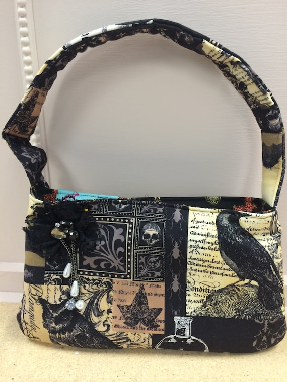 Gothis purse, Nevermore fabric purse/ punk bag