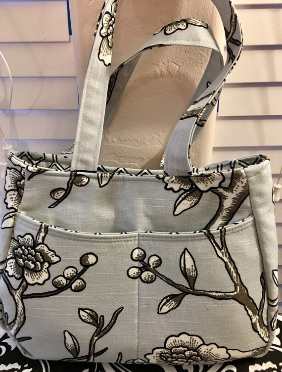 Custom grey and white purse