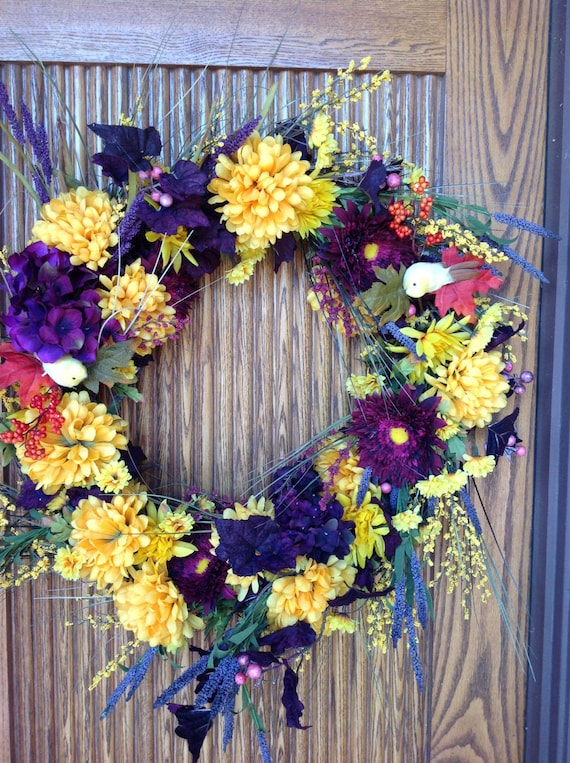 "Large 24"" beautiful fall floral wreath/small fall wreath/custom wreath/wedding wreath"