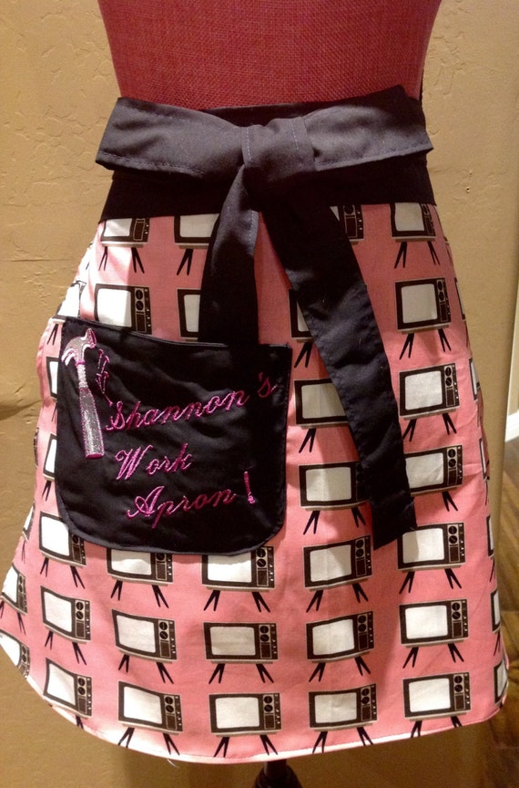 Half apron/ embroidered/ customizable/ work apron/ retro apron/ plus size apron