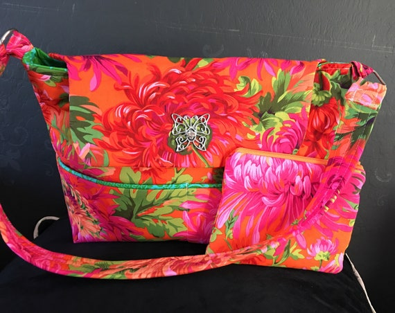 The Paula Purse, Stunning Shoulder Purse W/ Butterfly Clasp/diaper Bag/kaffe Fassett Fabric Bag