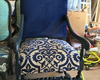 Large Accent Chair, Dark Blue Velvet/ Dining Room Chairs/ Local Uhpolstery Service