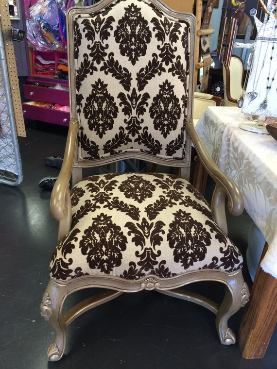 Gorgeous brown damask linen, chalk painted formal dining chair/ foyer chair/tucson style chair (sold)