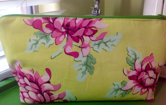 Gorgeous lime green and pink medium make up bag
