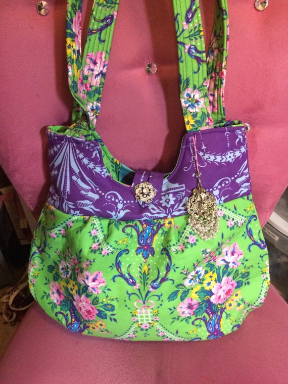Adorable two toned Jennifer Paganelli fabric purse/ bright colored bag