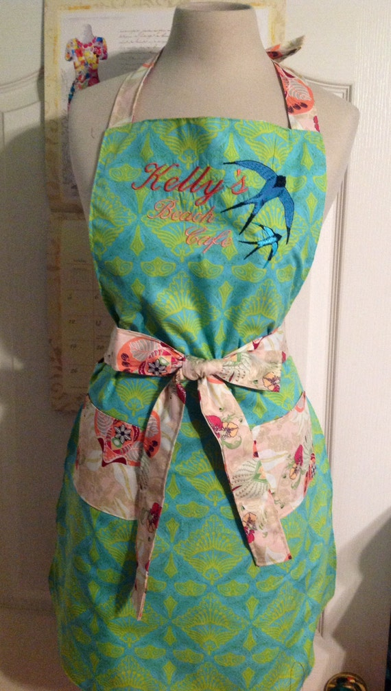 Gorgeous aqua lime and coral embroidered custom apron