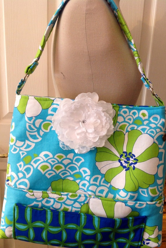 custom made with custom fabric diaper bag for mom or dad..