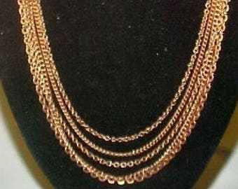 """1 Vintage Copper Coated Steel Graduated Bib Style 5 Chain 18"""" Necklace N53"""