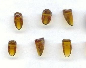 24 Vintage Glass Topaz Handmade Sliced Cylinder Drop Smooth Beads D181