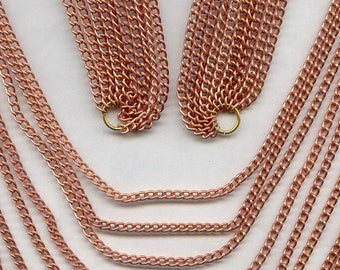 """Vintage Copper Coated Graduated 10 Strand 32"""" Jump Ringed Chain Bib Section N67"""