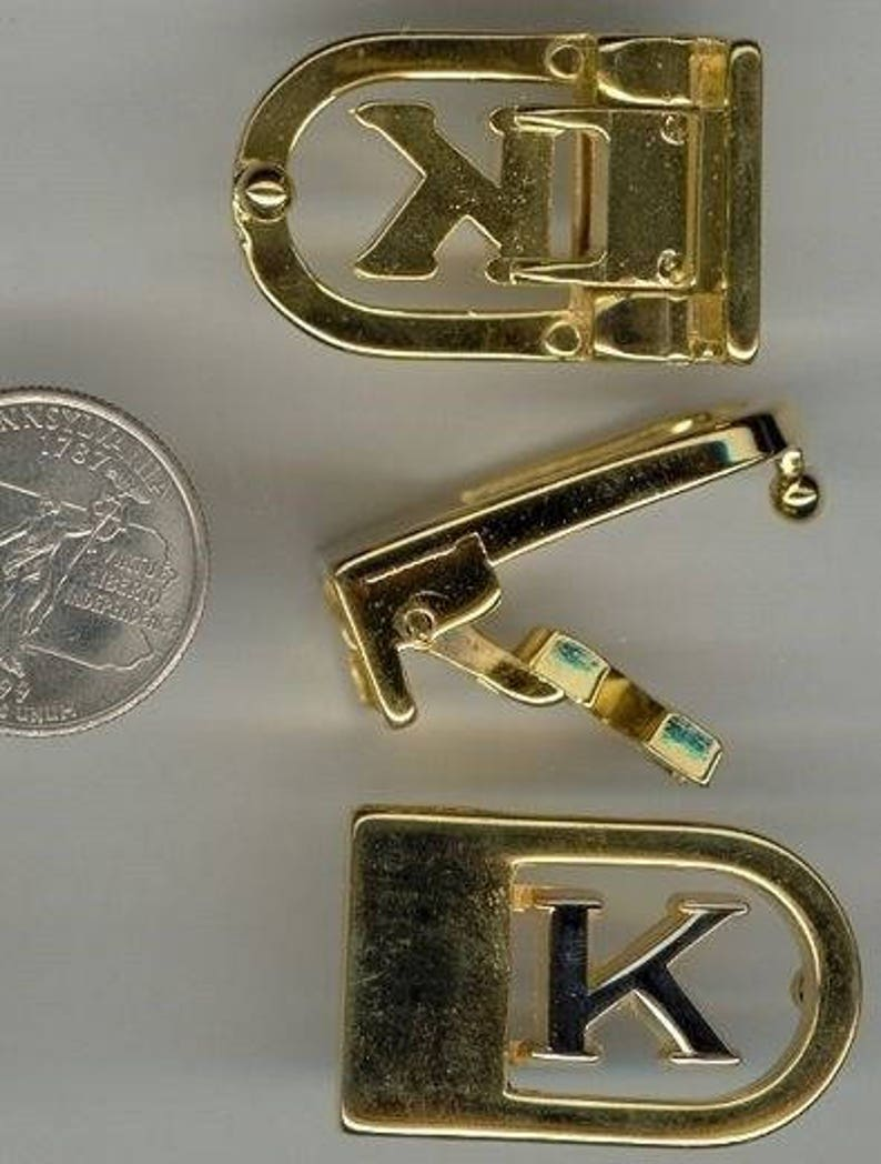 1 VINTAGE GOLD /& SILVER Plated Letter K Initial Belt Buckle s688