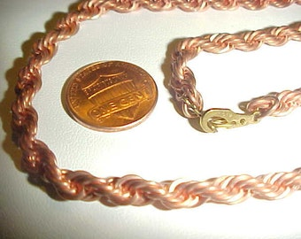"""Vintage Copper Coated Thick French Rope 20"""" Chain Necklace E5"""