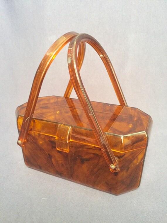 1950s Art Deco Brown Tortoiseshell Lucite Box Purs