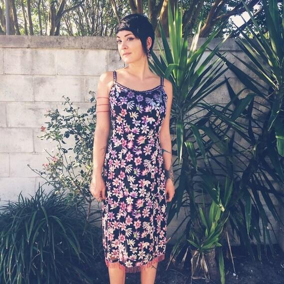 90s Betsey Johnson Floral Slip Dress / Vintage Y2… - image 1