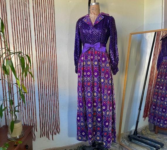 1970s Vintage Oscar De La Renta Gown / Purple Sequ