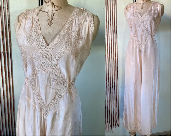 Vintage Silk Beach Pajamas Lounge Jumpsuit Playsui