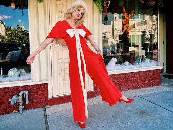 1970s Vintage Red Jumpsuit with Bow and Capelet /