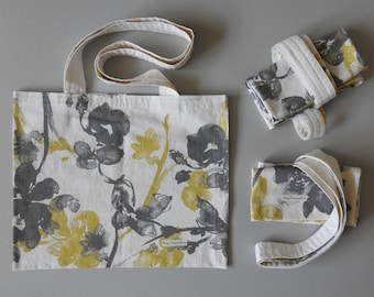 Gray Brown and Rust Print Reusable Grocery Bag