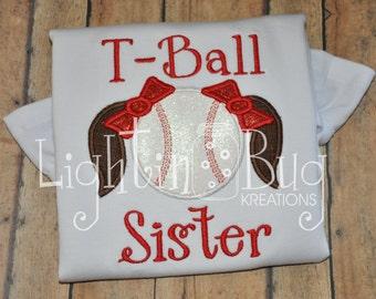 Glittery T-ball sister Personalized Shirt