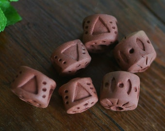 Ceramic Pitfired Beads - Pack of 6. #H