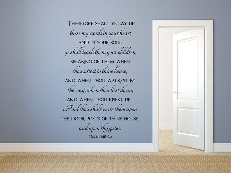 Vinyl Wall Stickers Inspirational Wall Decal Scripture Wall Art Lay up these my words in your heart and in your soul-Deuteronomy 11:18-20