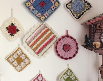 Embroidered crochet pot holders