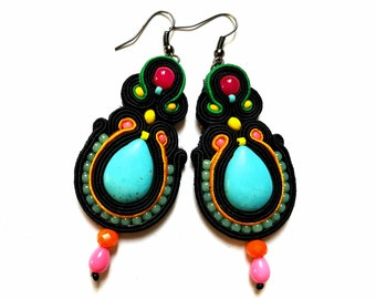 Dita - Soutache Earrings, colorful earrings, boho and folk, bright, optimistic jewelry