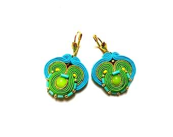 Tola - Soutache Earrings, colorful earrings, boho and folk, bright, optimistic jewelry