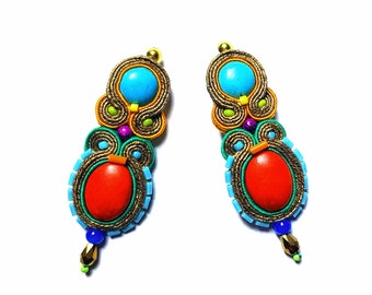 Anielka - Soutache Earrings, colorful earrings, boho and folk, bright, optimistic jewelry