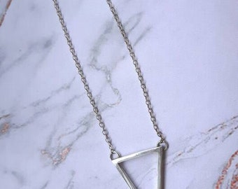 Triangle necklace | sterling silver geometric pendant necklace