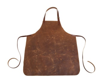 Full leather apron in Chestnut Brown or Espresso   Made to order
