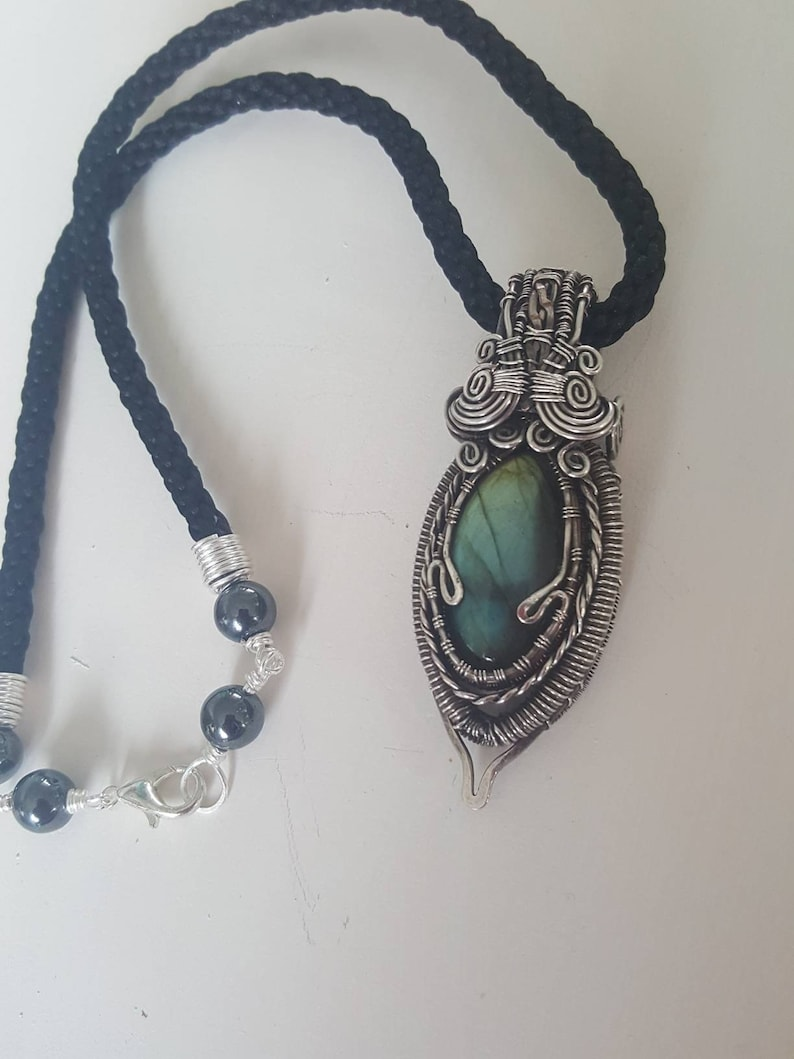 Wire wrapped labradorite pendant statement necklace with healing haematite beads Energy cleansing and charging pendant
