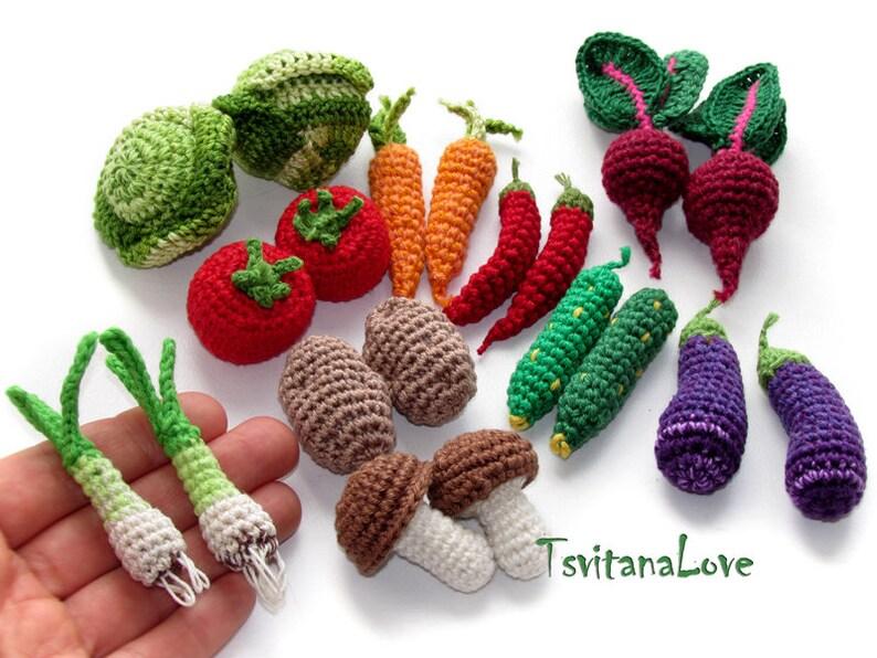 Play food Eco friendly toy Play kitchen Set 10 pcs Crochet toys Doll food Mini crochet vegetables Miniatures fruit mini veggies