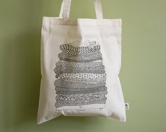 "100% organic cotton totebag screenprint ""The Princess and the Pea"""