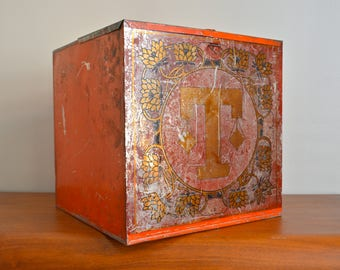 Vintage Large Tea Cube Box. Antique Storage Tea Tin. Kitchen Food Metal  Container. Industrial Home Decor. Rare Large Tin Container
