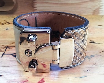 Leather and snakeskin cuff with chrome