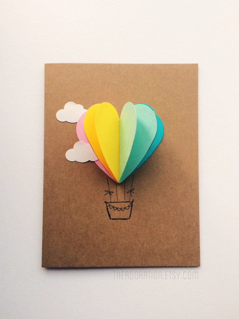 Rainbow Heart Hot Air Balloon Card image 0