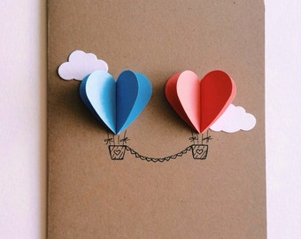 Couple Heart Hot Air Balloon Card ( blue / peach )