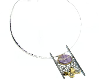 eb131c5a Charoite, Smoky Topaz Sterling Silver Necklace - weight 28.80g - dim 2 1 2  inch - code 2-cze-16-13