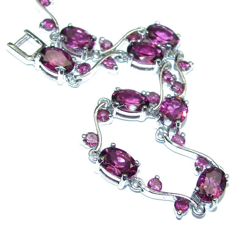 code 9-cze-20-224 weight 9.00g dim 3 8 inch Garnet Sterling Silver Bracelet
