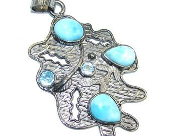 Larimar, Swiss Blue Topaz Sterling Silver Pendant - weight 13.20g - dim L -2 1 2, W - 1 1 2, T - 3 16 inch - code 12-sie-16-49