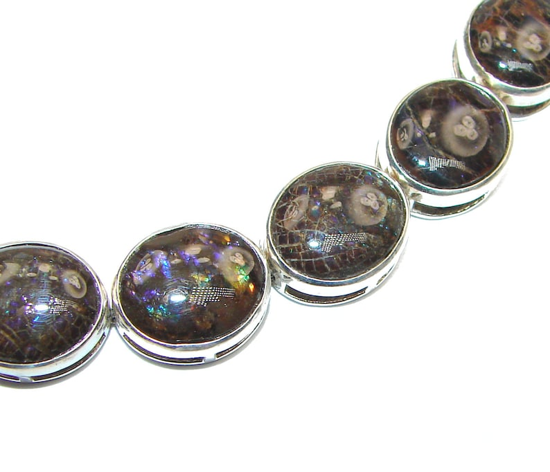Ammolite code 28-lis-20-128 dim 1 2 inches weight 29.80g Sterling Silver Bracelet