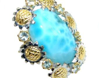 Larimar, Swiss Blue Topaz Sterling Silver Ring - weight 22.70g - Size 7 - Adjustable - dim L - 1 1 4, W - 1 3 8, T - 3 8 inch - code 3-paz-