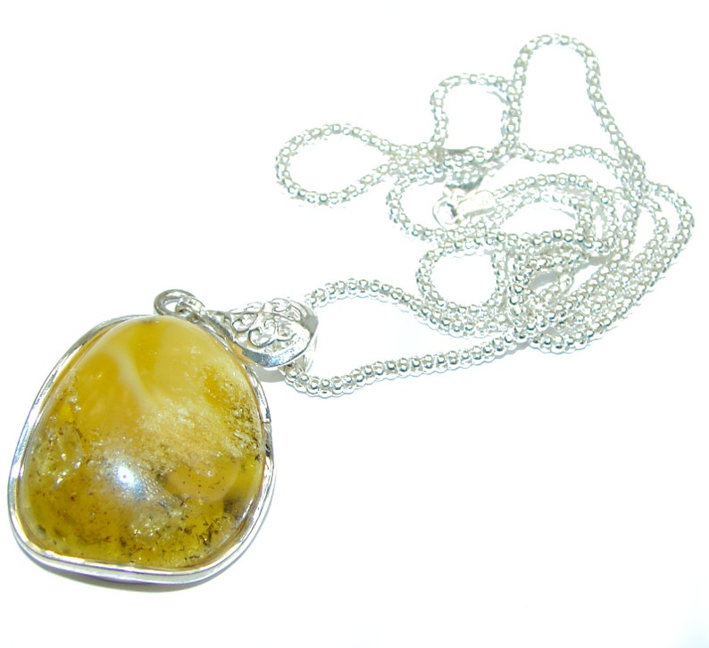 code 3-lut-20-116 Amber Sterling Silver Necklace weight 11.80g dim 1 3 4 inch