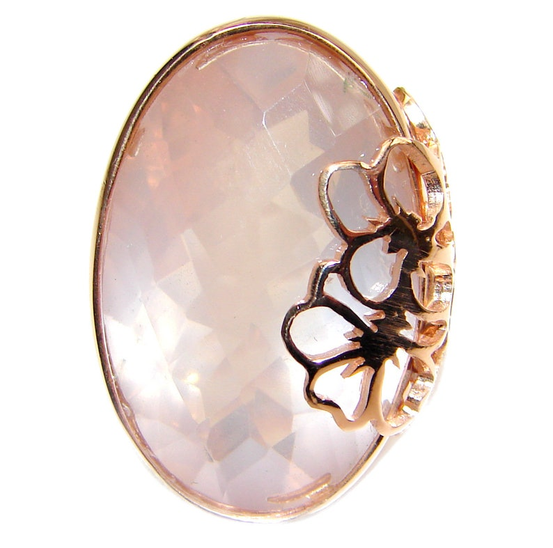 T- 1 2 inch dim L- 1 W 7 8 code 3-wrz-19-210 Rose Quartz Sterling Silver Ring Size 8-Adjustable weight 13.90g