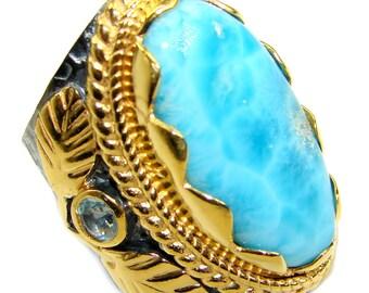 Larimar, Swiss Blue Topaz Sterling Silver Ring - weight 17.80g - Size 7 - dim L- 1 1 4, W- 5 8, T - 3 8 inch - code 29-mar-18-38