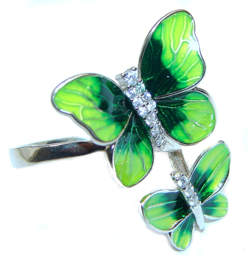 code 19-paz-20-82 dim L white Crystal Sterling Silver Ring T Size 7 1 2 3 16 inch 1 7 8 Enamel weight 5.20g W