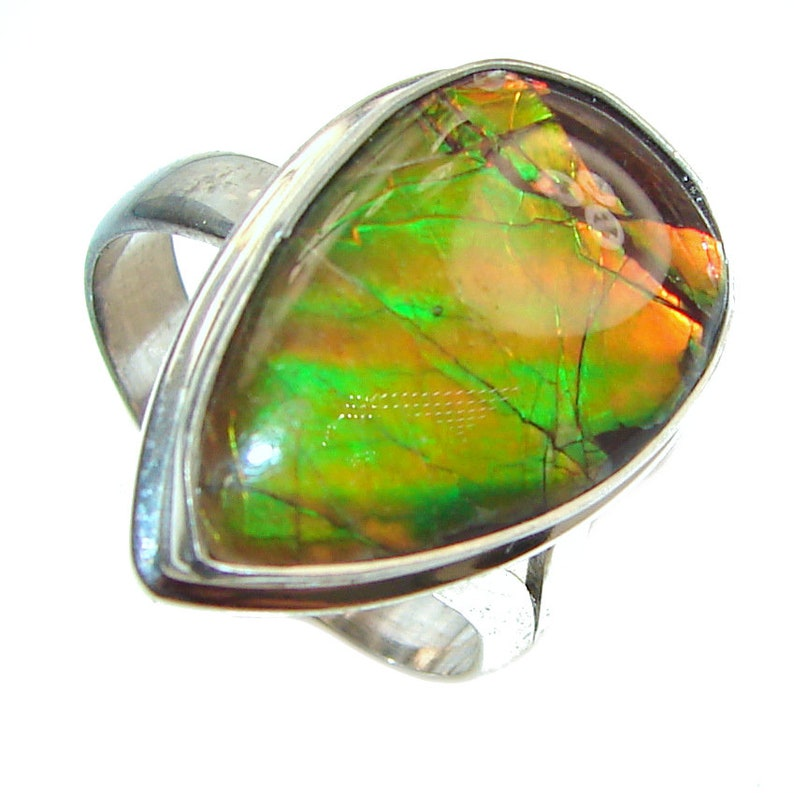 T 5 8 Size 7 code 30-lip-20-9 W 1 4 inch Adjustable weight 6.00g dim L Ammolite Sterling Silver Ring 7 8