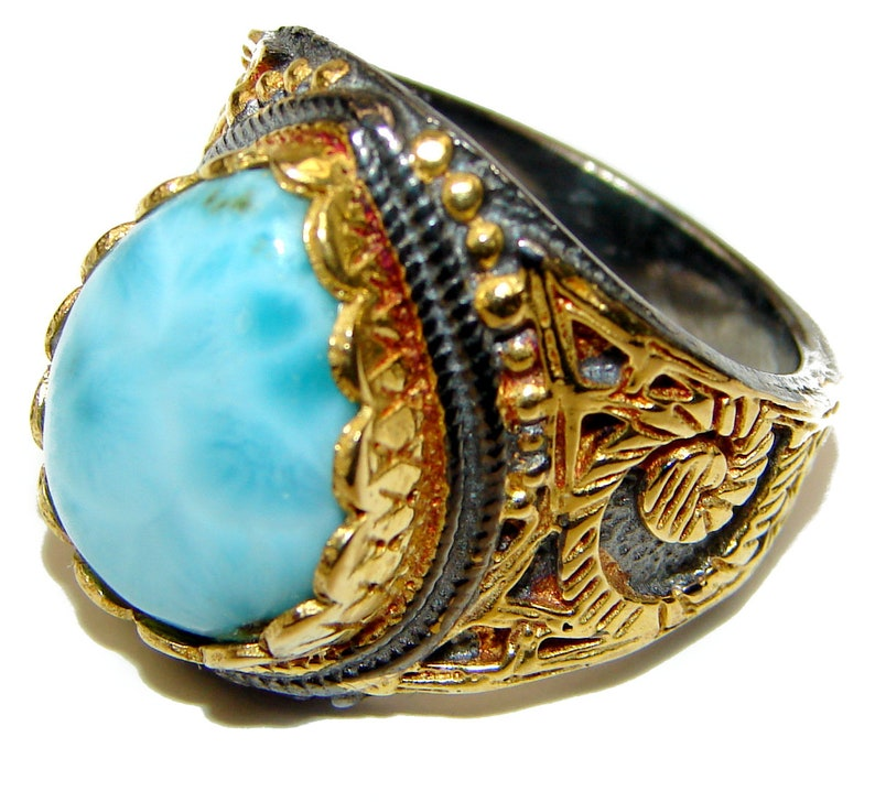 T Larimar Sterling Silver Ring W code 10-lut-21-31 Size 8 1 4 inch dim L weight 11.90g 5 8 7 8